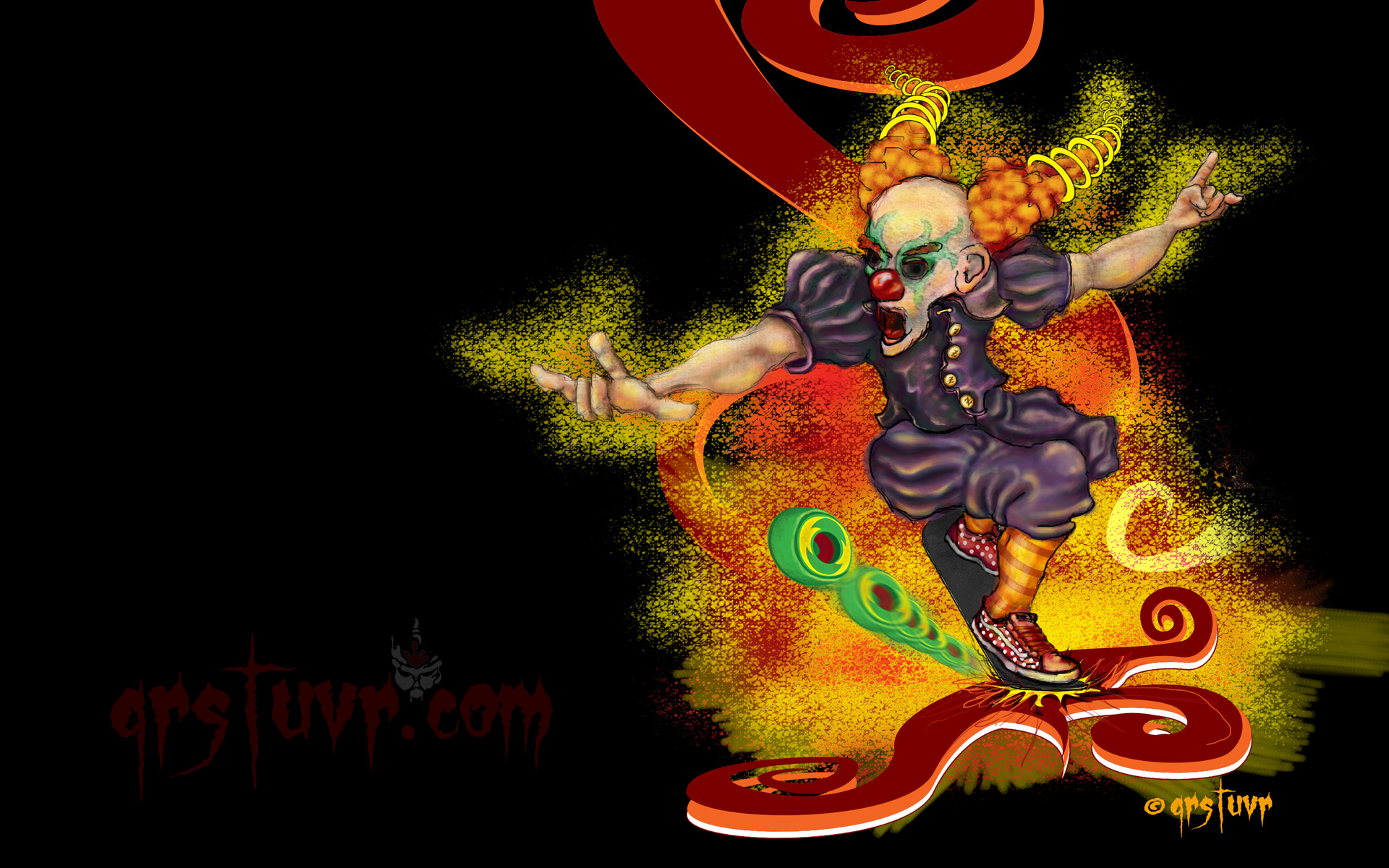 Download Skate Clown On White Background Crazy Front Grinding And Busting His Deck